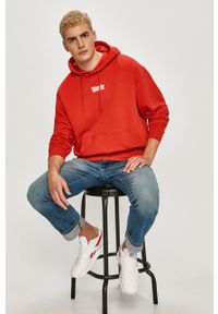 Wrangler - Bluza bawełniana. Kolor: czerwony. Materiał: bawełna. Wzór: nadruk