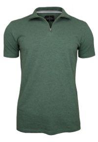 Zielony t-shirt Chiao ze stójką, z krótkim rękawem, krótki