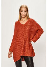 Pomarańczowy sweter Noisy may z okrągłym kołnierzem