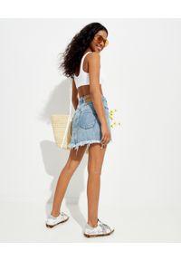 ONETEASPOON - Jeansowa spódnica Trucker. Stan: podwyższony. Kolor: niebieski. Materiał: jeans. Wzór: aplikacja