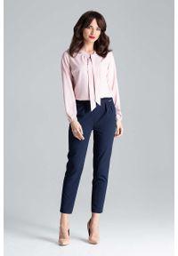Niebieskie spodnie z wysokim stanem Katrus eleganckie