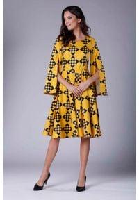 Nommo - Sukienka Midi z Wirującym Dołem i Rozciętym Rękawem. Materiał: wiskoza, poliester. Długość: midi