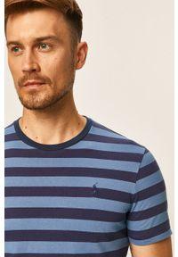Niebieski t-shirt Polo Ralph Lauren z okrągłym kołnierzem, casualowy, na co dzień