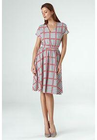 Sukienka rozkloszowana, z krótkim rękawem, elegancka
