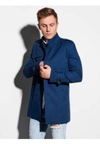 Niebieski płaszcz Ombre Clothing na wiosnę, ze stójką, elegancki