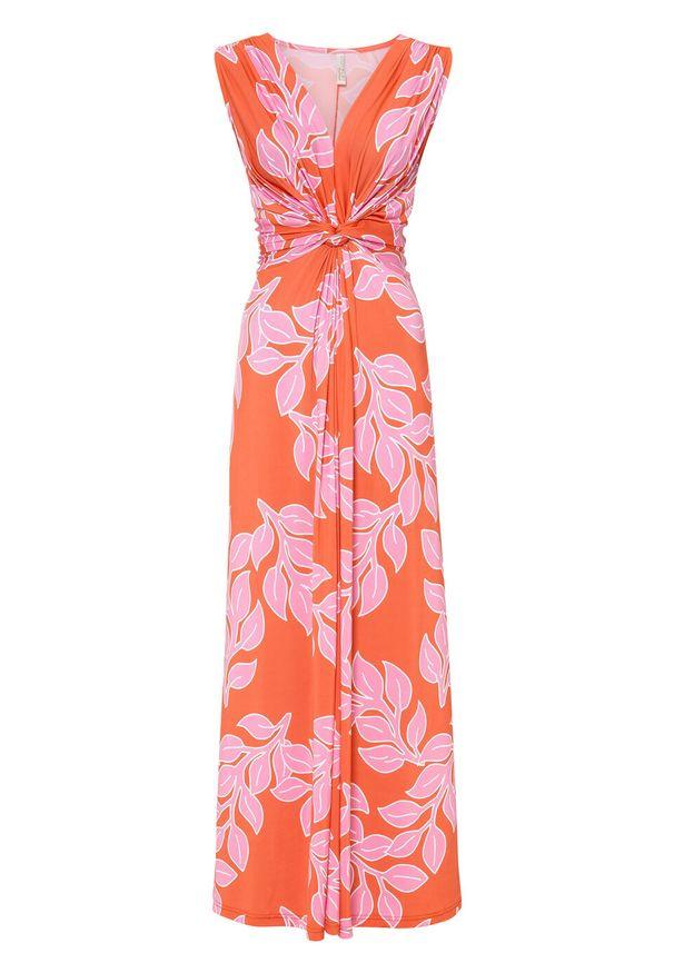 Letnia długa sukienka bonprix pomarańczowo-różowy w roślinny wzór. Kolor: pomarańczowy. Wzór: nadruk. Sezon: lato. Długość: maxi