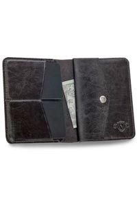 Solier - Skórzany cienki portfel męski z bilonówką SOLIER SW15 SLIM ciemny brąz. Kolor: brązowy. Materiał: skóra