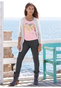 T-shirt dziewczęcy (2 szt.) bonprix jasnoszary melanż + pudrowy jasnoróżowy. Kolor: szary. Długość: długie. Wzór: melanż