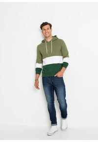 Bluza z kapturem bonprix zielony lodenowy - biały - ciemnozielony w paski. Typ kołnierza: kaptur. Kolor: zielony. Wzór: paski #2