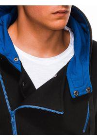 Ombre Clothing - Bluza męska rozpinana z kapturem B297 - czarna - XXL. Typ kołnierza: kaptur. Kolor: czarny. Materiał: dzianina, poliester, bawełna