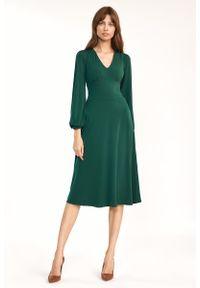 Nife - Zielona Elegancka Midi Sukienka z Bufiastym Rękawem. Kolor: zielony. Materiał: elastan. Styl: elegancki. Długość: midi