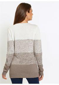 Długi sweter Premium z kaszmirem bonprix biel wełny - beżowoszary. Kolor: biały. Materiał: kaszmir, wełna. Długość: długie. Wzór: kolorowy