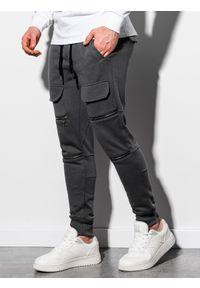 Ombre Clothing - Spodnie męskie dresowe joggery P901 - grafitowe - XXL. Kolor: szary. Materiał: dresówka #5