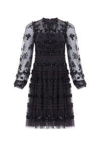 NEEDLE & THREAD - Czarna sukienka mini Eve. Kolor: czarny. Materiał: tiul. Długość rękawa: długi rękaw. Wzór: kwiaty. Typ sukienki: dopasowane. Długość: mini