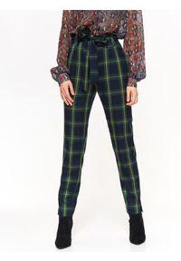 Zielone spodnie TOP SECRET z podwyższonym stanem, na jesień