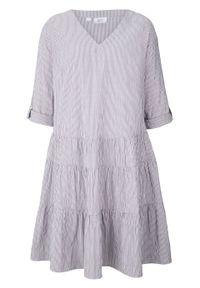 Sukienka szmizjerka bonprix ciemnoniebiesko-biały w paski. Kolor: niebieski. Wzór: paski. Typ sukienki: szmizjerki