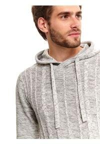TOP SECRET - Sweter z kapturem. Typ kołnierza: kaptur. Kolor: szary. Materiał: bawełna, materiał. Długość: długie. Sezon: zima #6