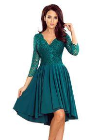 Zielona sukienka Numoco w koronkowe wzory, wizytowa, asymetryczna