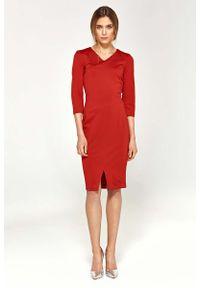 Nife - Czerwona Dopasowana Elegancka Sukienka z Przeszyciami. Kolor: czerwony. Materiał: wiskoza, poliester, nylon. Styl: elegancki