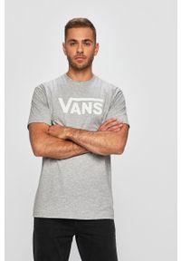 Szary t-shirt Vans casualowy, z okrągłym kołnierzem
