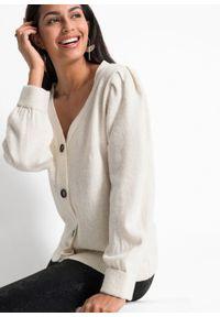 Sweter rozpinany z rękawami balonowymi bonprix biel wełny. Typ kołnierza: dekolt w serek. Kolor: biały. Materiał: wełna #3