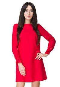 Tessita - Czerwona Sukienka Wizytowa z Wiązaniami. Kolor: czerwony. Materiał: poliester, elastan. Styl: wizytowy