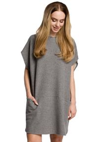 Szara sukienka dresowa MOE z kapturem