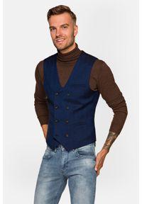 Lancerto - Kamizelka Granatowa w Jodełkę Corfu. Typ kołnierza: golf. Kolor: niebieski. Materiał: jeans, wiskoza, elastan, tkanina, poliester. Wzór: jodełka