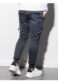 Ombre Clothing - Spodnie męskie dresowe joggery P917 - grafitowe - XXL. Kolor: szary. Materiał: dresówka