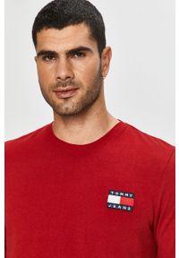 Brązowa koszulka z długim rękawem Tommy Jeans na co dzień, z okrągłym kołnierzem, casualowa