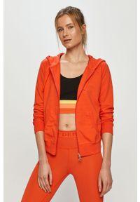 Pomarańczowa bluza rozpinana Deha casualowa, z kapturem