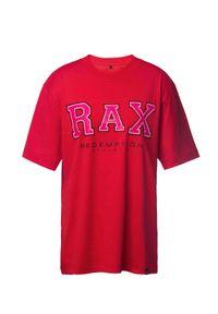 REDEMPTION ATHLETIX - Różowy t-shirt z bawełny organicznej. Kolor: różowy, fioletowy, wielokolorowy. Materiał: bawełna. Wzór: nadruk, aplikacja. Styl: sportowy