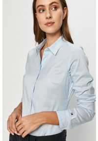 TOMMY HILFIGER - Tommy Hilfiger - Koszula. Kolor: niebieski. Materiał: tkanina. Wzór: gładki