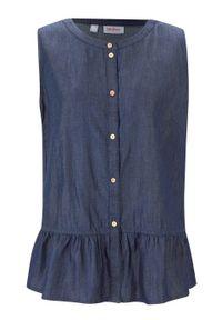 Koszula dżinsowa bez rękawów bonprix ciemnoniebieski. Kolor: niebieski. Materiał: lyocell. Długość rękawa: bez rękawów