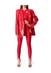 AGGI - Czerwona marynarka Lennox. Kolor: czerwony. Materiał: lakier. Długość: długie. Styl: wizytowy, rockowy