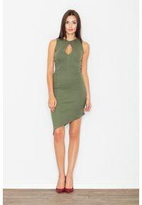 Figl - Zielona Asymetryczna Dopasowana Sukienka z Łezką. Kolor: zielony. Materiał: elastan, bawełna. Typ sukienki: asymetryczne