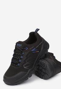 Born2be - Czarno-Niebieskie Buty Trekkingowe Idillos. Kolor: czarny. Materiał: bawełna, softshell, materiał, dresówka. Szerokość cholewki: normalna. Wzór: aplikacja