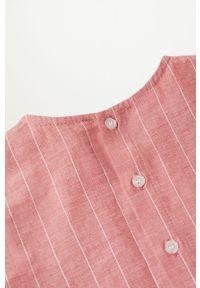 Różowa sukienka Mango Kids rozkloszowana, mini, z krótkim rękawem
