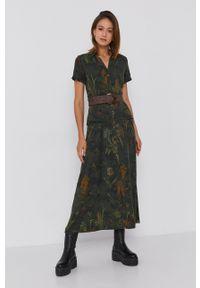 Desigual - Sukienka. Okazja: na co dzień. Kolor: zielony. Materiał: włókno, tkanina, materiał. Długość rękawa: krótki rękaw. Typ sukienki: proste. Styl: casual