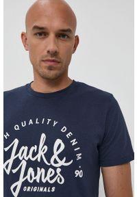Jack & Jones - T-shirt. Okazja: na co dzień. Kolor: niebieski. Materiał: dzianina. Wzór: nadruk. Styl: casual