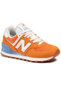 Pomarańczowe buty sportowe New Balance 574, na płaskiej podeszwie, z cholewką
