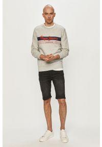 Pepe Jeans - Bluza bawełniana Elvin. Okazja: na co dzień. Kolor: szary. Materiał: bawełna. Wzór: nadruk. Styl: casual