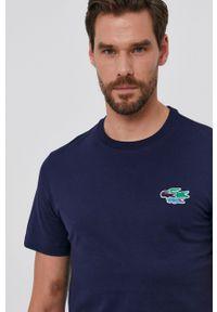 Lacoste - T-shirt bawełniany. Okazja: na co dzień. Kolor: niebieski. Materiał: bawełna. Wzór: aplikacja. Styl: casual