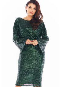 Awama - Cekinowa Sukienka z Dekoltem na Plecach - Zielona. Kolor: zielony. Materiał: poliester
