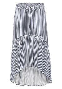 Spódnica z dłuższym tyłem bonprix ciemnoniebiesko-biel wełny w paski. Kolor: niebieski. Materiał: wełna. Długość: długie. Wzór: paski