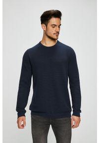 Niebieski sweter PRODUKT by Jack & Jones z okrągłym kołnierzem, casualowy