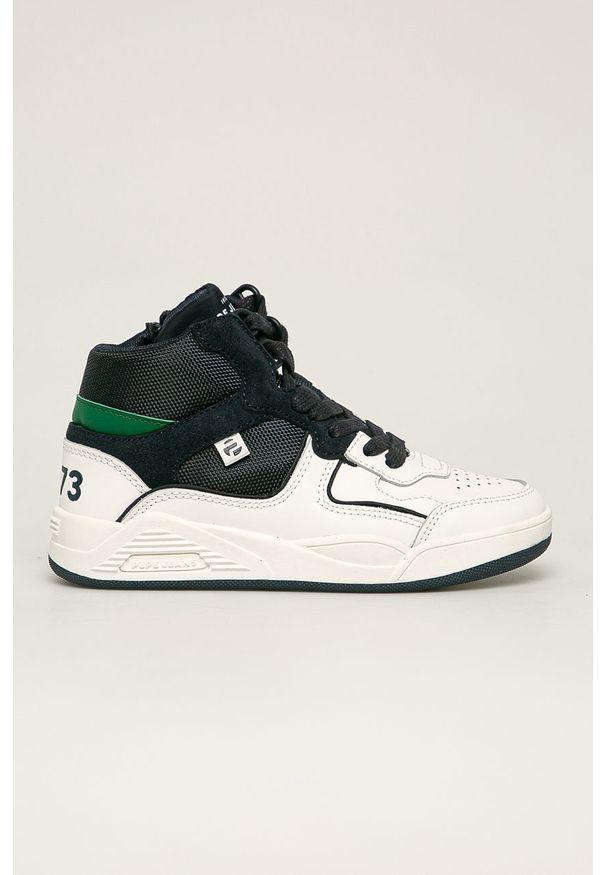 Białe buty sportowe Pepe Jeans z okrągłym noskiem, na sznurówki, z cholewką