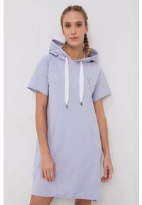 DKNY - Dkny - Sukienka bawełniana. Typ kołnierza: kaptur. Kolor: fioletowy. Materiał: bawełna. Długość rękawa: krótki rękaw