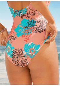 Kostium kąpielowy bonprix morelowo-turkusowy w kwiaty. Kolor: pomarańczowy. Wzór: kwiaty