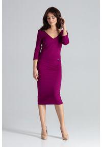 Lenitif - Elegancka dopasowana sukienka z dekoltem V fioletowa. Kolor: fioletowy. Typ sukienki: dopasowane. Styl: elegancki. Długość: midi